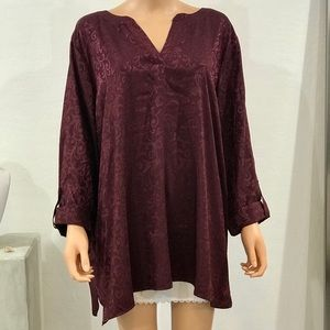 Plus Size  Paisley Burgundy Deep Red Blouse